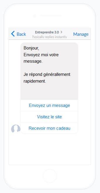 Comment créer un bot messenger Facebook? - Une capture d'écran d'un téléphone portable - Font