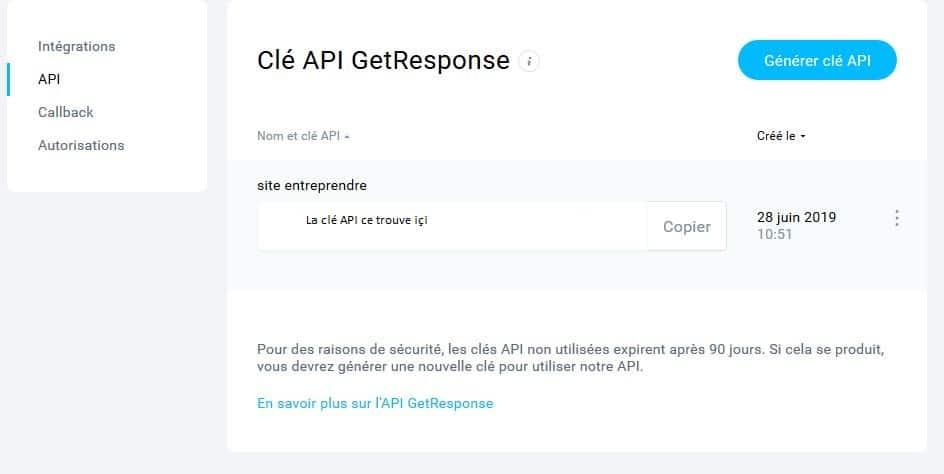 Collecter les mails sur votre site internet - Une capture d'écran comment installer clé api getresponse wordpress- page Web