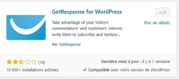 Collecter les mails sur votre site internet - Une capture d'écran d'un Plugin Getreponse - WordPress