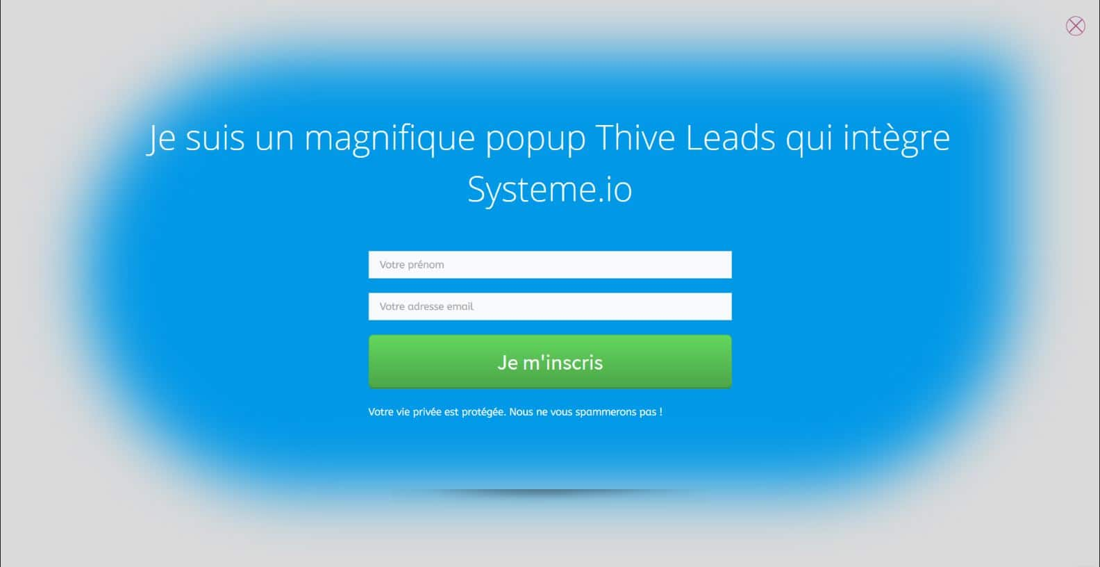 Popup thrive leads qui intègre systeme.io