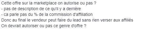 Message d'aurelien amacker sur le groupe facebook concernant l'utilisation du marketplace de system io